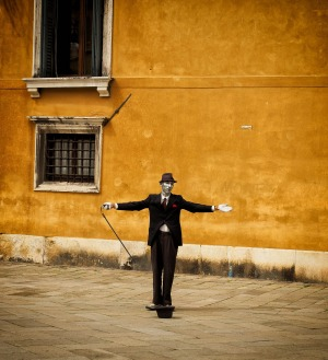 """In a quiet back street of Venice we watched this """"human statue"""" remain motionless for 10 minutes at a time. He does have ..."""