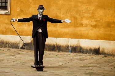 "In a quiet back street of Venice we watched this ""human statue"" remain motionless for 10 minutes at a time. He does have ..."