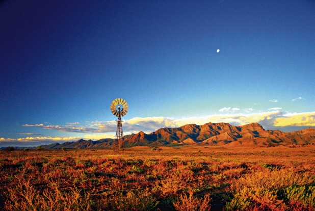 Windmill off Leigh Creek Road, between Leigh Creek and Hawker, Flinders Ranges, South Australia.