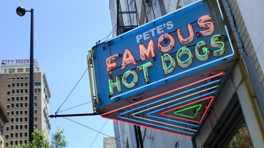 The iconic Pete's Famous Hot Dogs sign.