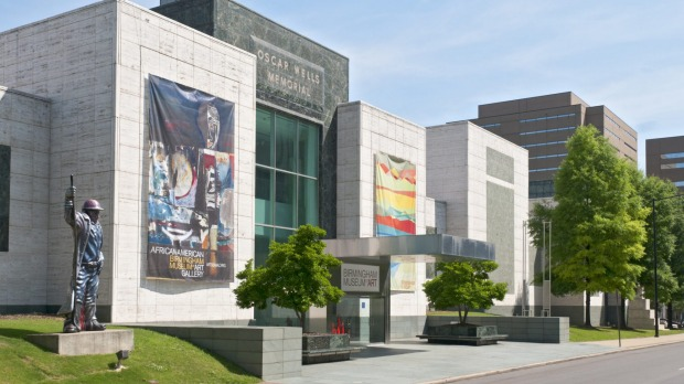 The Birmingham Museum of Art, with the steelworker statue at left.
