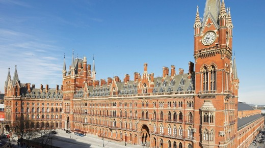 Exterior of St Pancras International, which serves as the London Eurostar terminal, and which incorporates St Pancras ...