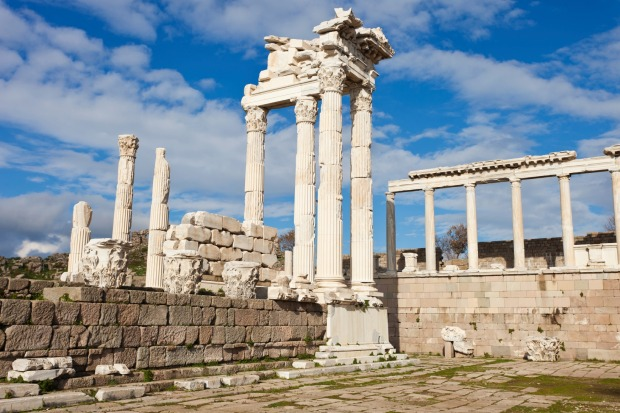 Pergamon ruins in Bergama, Turkey: There are two parts to this splendid ancient city. The acropolis is crowned by the ...