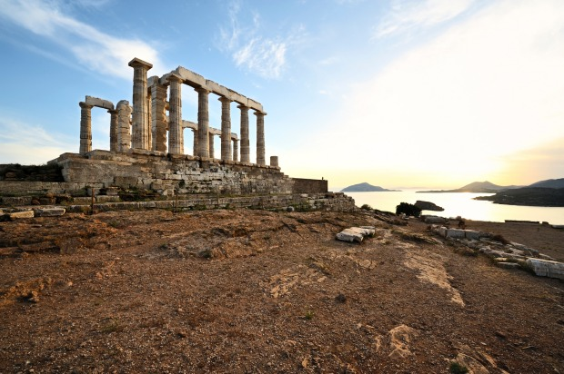 Temple of Poseidon, Cape Sounion, Greece: Southeast of Athens, just before you fall into the Mediterranean, stands the ...