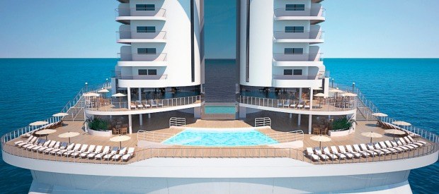 MSC Seaside, a new 'beach condo' style cruise ship, features a panoramic pool.