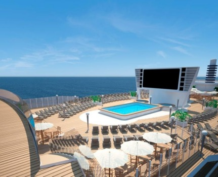 MSC Seaside: The main pool deck.