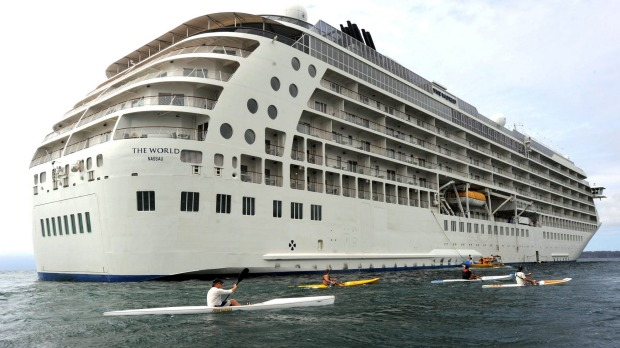 Many people live on board The World cruise ship.