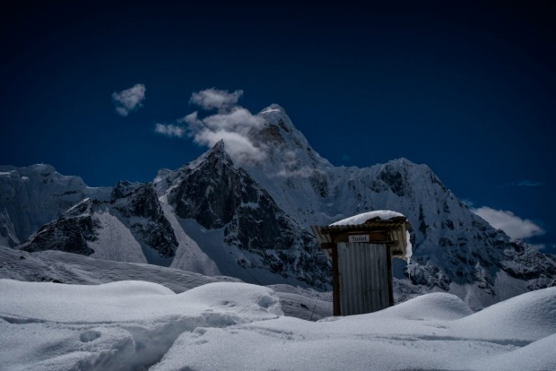 Toilet at base of Ama Dablam, taken from Chukhung (4730m). This Nepalese beauty sits almost 5000 metres above sea level, ...