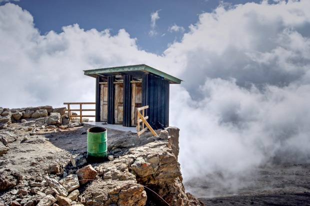 The toilet block in Barrafu Camp, Tanzania, is perched 4600 metres above sea level on Mount Kilimanjaro. It's a ...