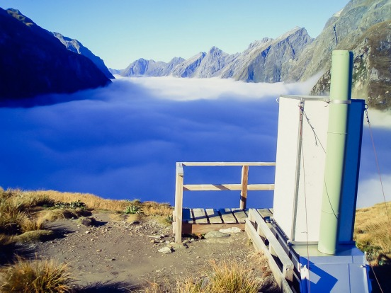 There are actually several pretty spectacular toiletry locations on New Zealand's Milford Track. This one sits 1154m ...