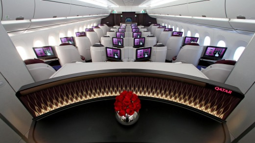 Business class on board the Qatar Airways A350.