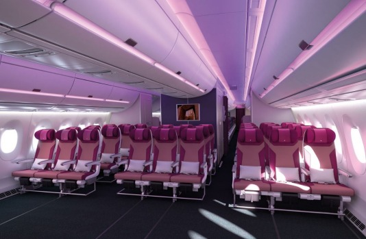Qatar Airways economy class on the Airbus A350.