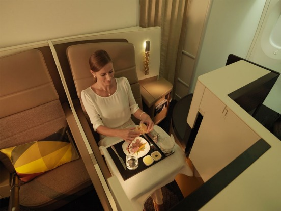 Etihad Business Class seat is a semi-private space.