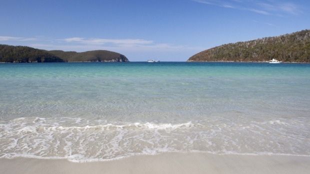 Fortescue Bay with its nearly touching headlands.