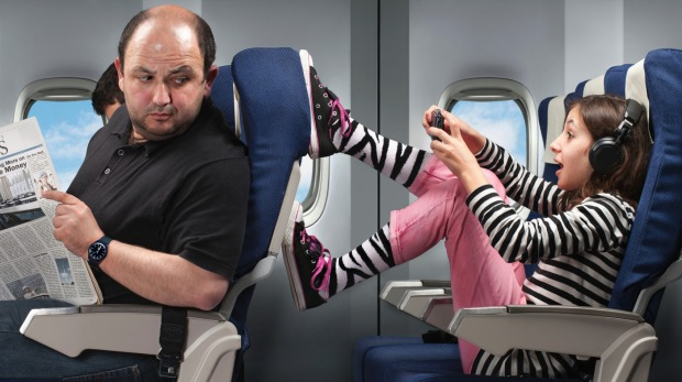 Seat kicking: It's annoying but not the most likely reason to cause air rage according to a new study.