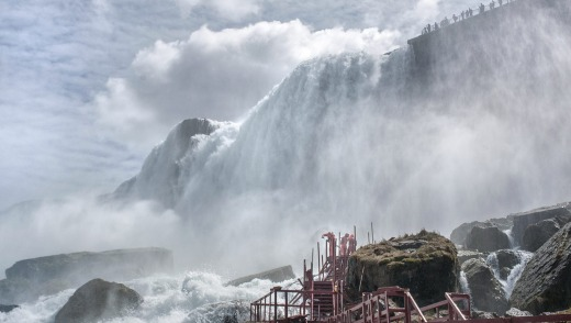 The viewing deck at the popular Cave of the Winds attraction at Niagara Falls State Park.