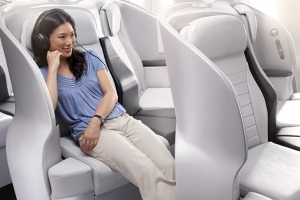 Air New Zealand's premium economy seat on a Boeing 777. Space seat