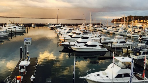 The marina is at the doorstep of the Crows Nest Apartment, Port Stephens.