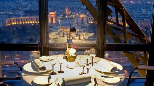 Jules Verne restaurant in the Eiffel Tower.