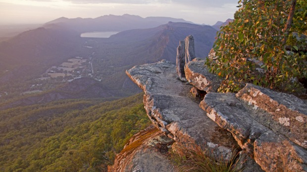 Dawn view over Halls Gap from Boroka Lookout.