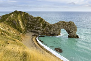 Durdle Door in Dorset on the south coast of England. This part of England is known as the Jurassic Coast.