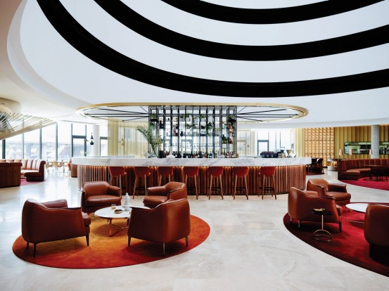 The Vibe Hotel Canberra's lobby is a dramatic space.