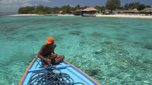 The crystal clear waters around Lombok.