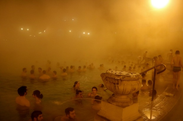 Entering the outdoor Szechenyi baths in Budapest on a freezing late snowy afternoon in January was thrilling, especially ...