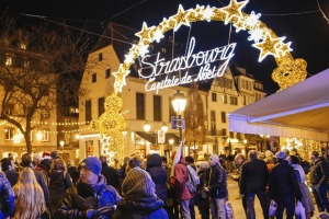 A busy Christmas market in the city of Strasbourg, France.