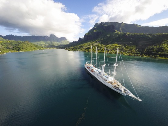 The Wind Spirit at the volcanic island of Moorea.s