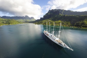 The Wind Spirit at the volcanic island of Moorea.