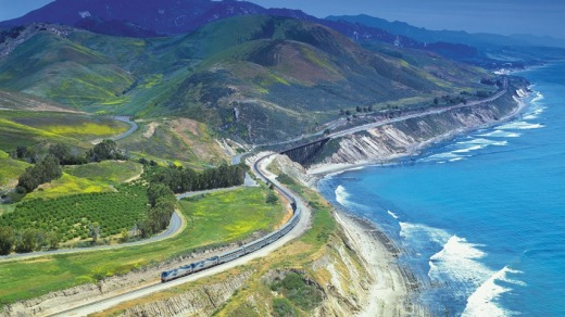 The train hugs the Pacific coast.