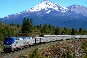 An abundance of spectacular views, including this one of Mount Shasta, are on offer for passengers travelling on the ...