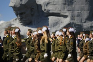 Belarusian cadets march past Brest Fortress monument during a Victory Day rally marking 71 years after the victory in ...