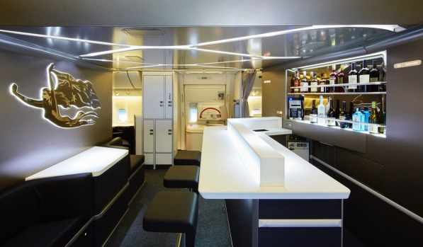 Virgin Australia's new business class bar on board its Boeing 777.