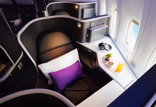 Virgin Australia's new business class seat on board its Boeing 777.