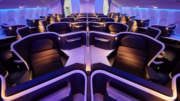 Virgin Australia's business-class cabin on the Boeing 777.