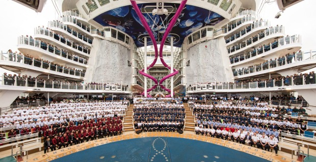 The traditional delivery and flag changing ceremony that was held on 13 May 2016 in Saint Nazaire, France: Harmony of ...