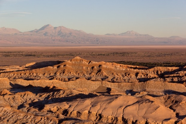 The sun sets over Valle de la Luna near San Pedro de Atacama, Chile.
