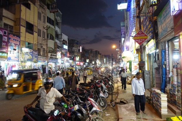 Madurai, Tamil Nadu, and the hectic madness of an Indian city street. Once you get used to it you wouldn't have it any ...