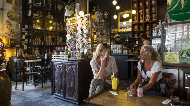 Tourists relax at a bar in Ubon Ratchathani.