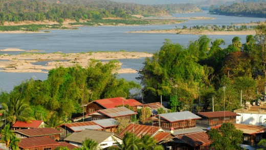 Mekong river at Khong Chiam with view towards Laos in the Ubon Ratchathani province.