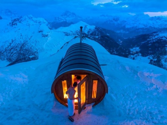 Twelve mountain saunas with hot views