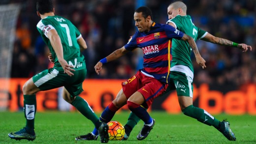 Neymar of FC Barcelona competes for the ball.