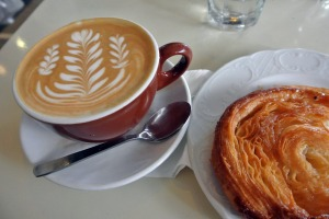 Flat white and Kouign-aman pastry at Tiong Bahru Bakery