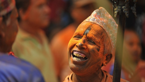 A devotee during the celebration of 'Sindoor Jatra'  or Nepalese New Year day celebration.