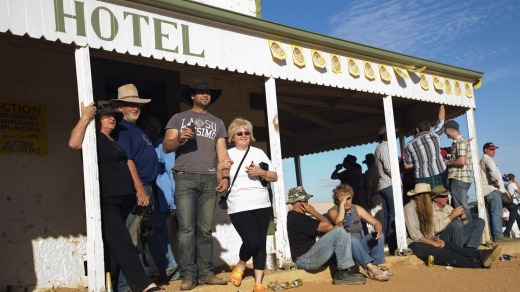 The Birdsville Hotel overflows during the annual Birdsville races in September.