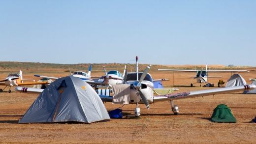 Aerodrome camping during the Birdsville Cup races.