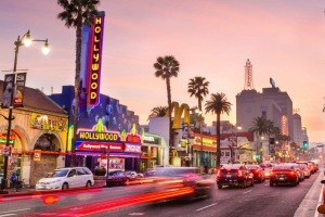Lose yourself on Hollywood Boulevard at dusk.