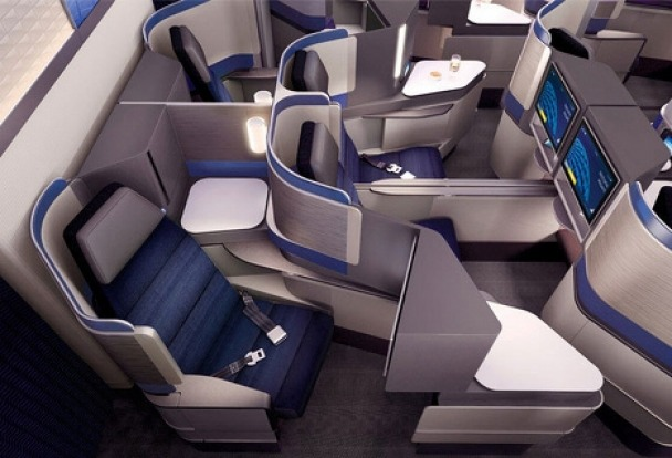 United has unveiled its new Polaris international business class cabin featuring new custom designed seats as well as ...